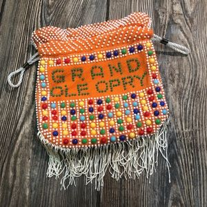Grand Ole Opry Orange Beaded Fringe Drawstring Bag
